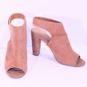 Bamboo Suede Peep Toe slide on Ankle Bootie